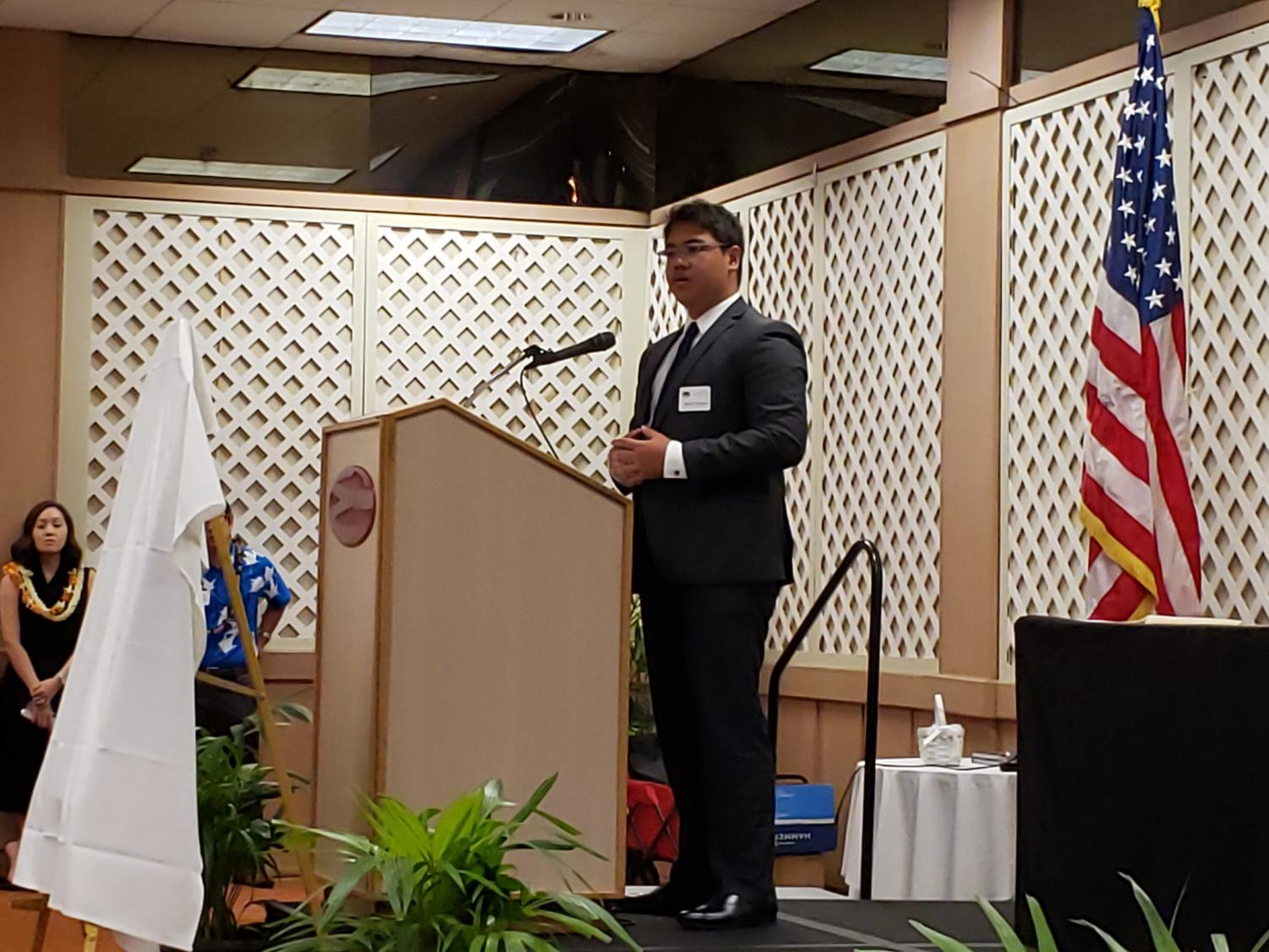 Waipahu High School journalist, Kawika Pegram, spoke at the 2019 Hawaii High School Journalism Awards Banquet.
